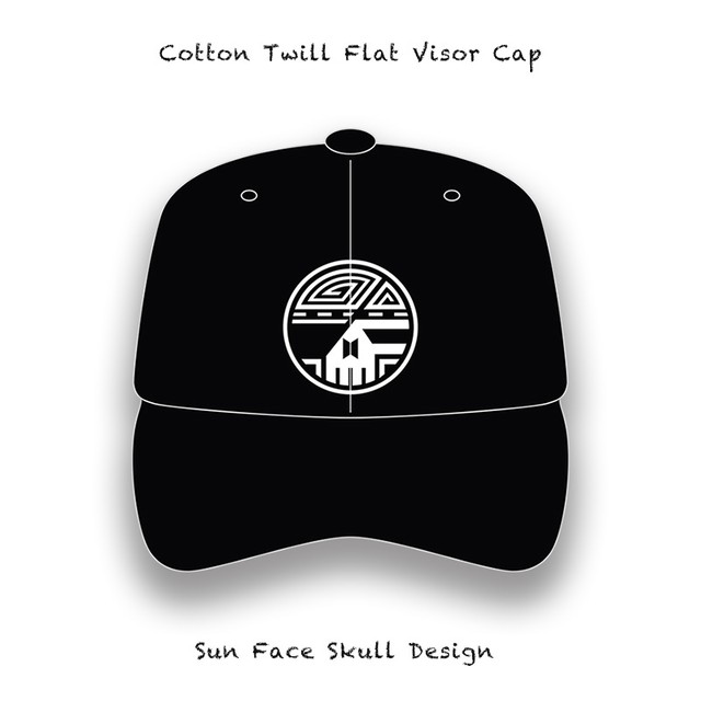 Cotton Twill Flat Visor Cap / Sun Face Skull Design ( White Embroidery )
