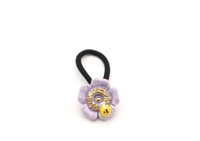 有田焼ヘアゴム 花×てんとう虫 紫