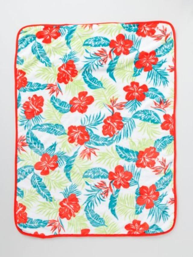 【kahiko/カヒコ】ALOHAハワイアンブランケット ハイビスカス ミニクッションにもなるひざ掛け 毛布