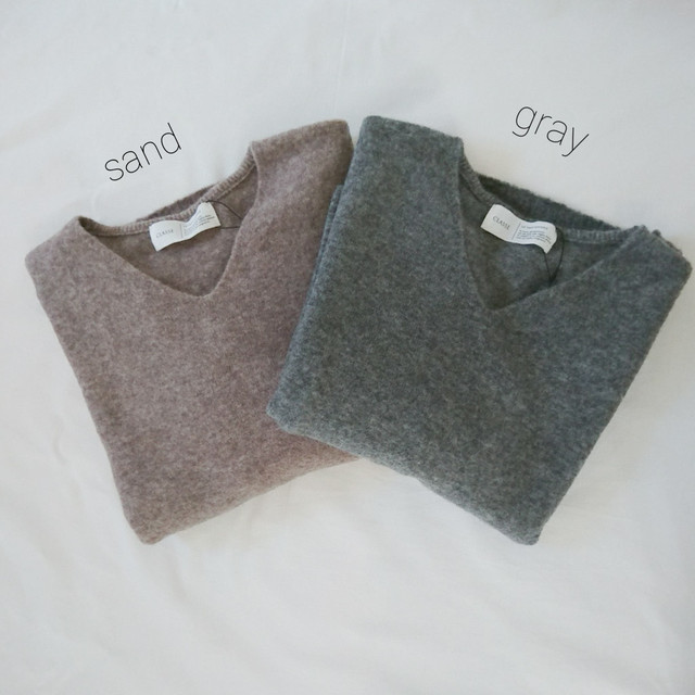 【Yaku Blend Blush Wood】Vネックニット (gray・sand)