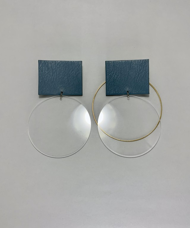 Transparent and leather earrings/ blue grey