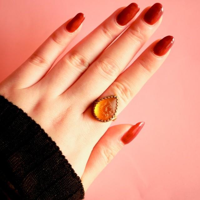 オレンジフロストフラワー ヴィンテージガラスリング(指輪)
