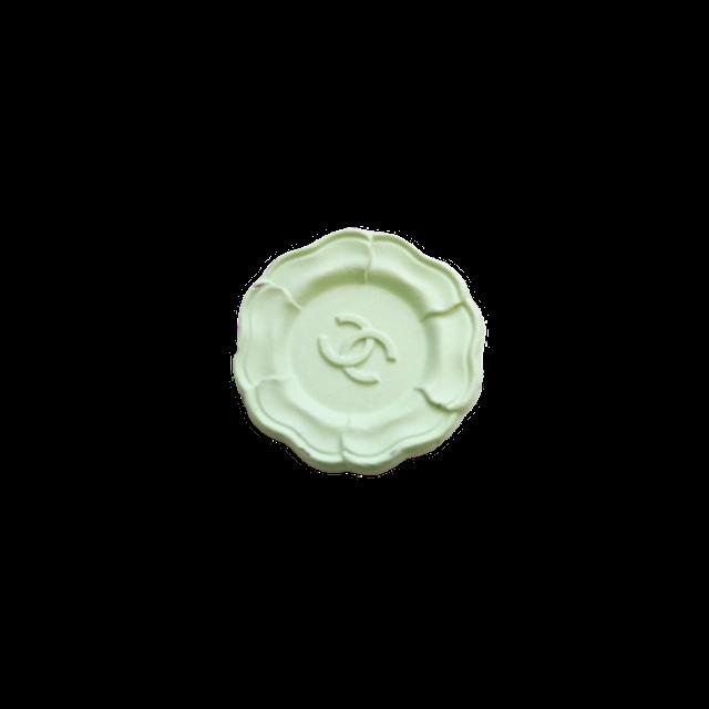 【VINTAGE CHANEL BUTTON】カメリア ココマーク ミント ボタン 20mm