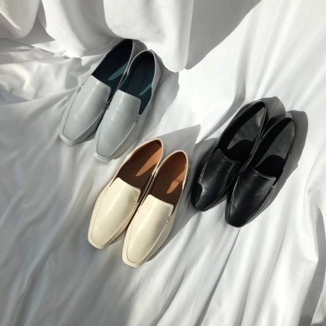 リアルレザースリットブロッパー ブロッパー スリッパ サンダル 韓国ファッション