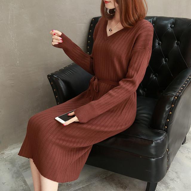 【dress】注目度vネックスリム厚くてエレガントワンピース 24534663