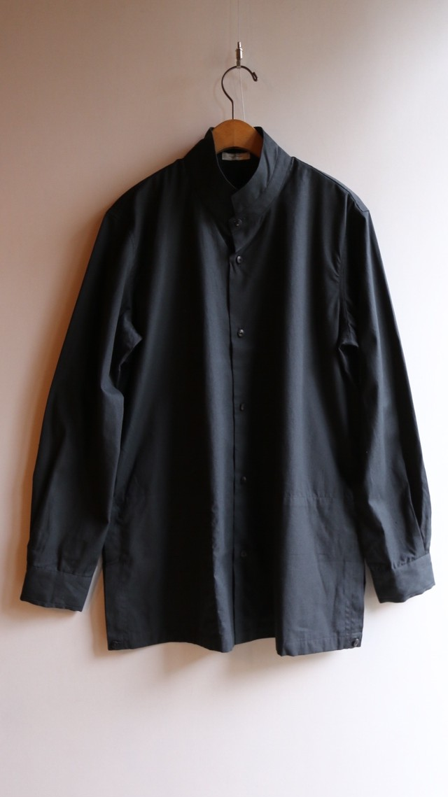 THE HINOKI コットンネップ パラシュートクロス スタンドアップカラーシャツ BLACK #TH19W-8