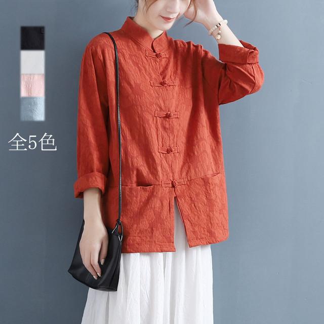 【清袅シリーズ】全5色 チャイナ風トップス シャツ 棉麻 ゆったり 唐装レトロ系 中華服 シンプル