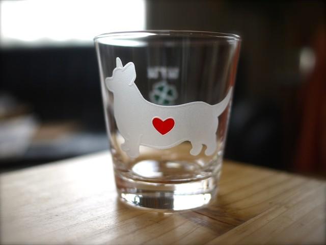 コーギー/カーディガン彫刻グラス(ハート&クローバー)