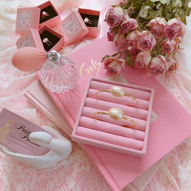 Strawberry Heart Cameo & Glass Pearl _ Bracelet