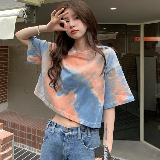 【トップス】デザイン性抜群グラデーション色シンプルショート丈Tシャツ45576201