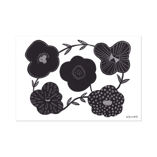 ポストカード【flower black】