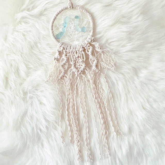 Mini dreamcatcher - macrame × Seaglass -