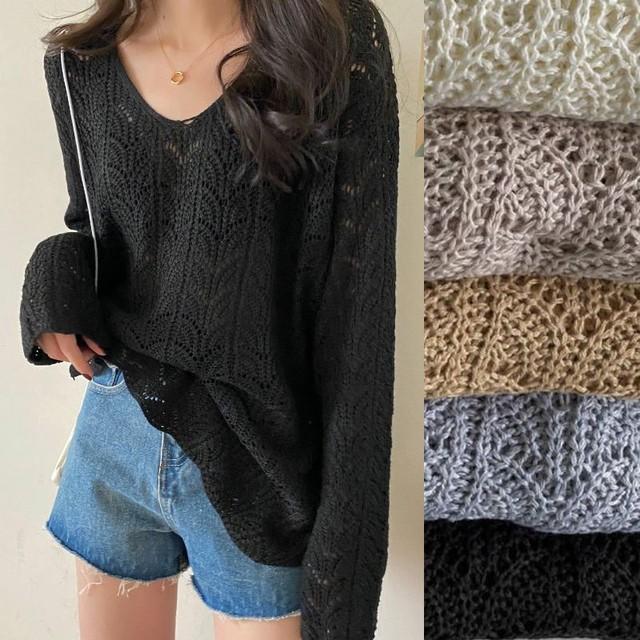 ニット セーター 透かし編み 薄手 ルーズ 韓国ファッション レディース トップス かぎ編み Vネック 長袖 ゆったり 大人可愛い ガーリー / Thin hollow loose V-neck knit sweater (DTC-626051580415)
