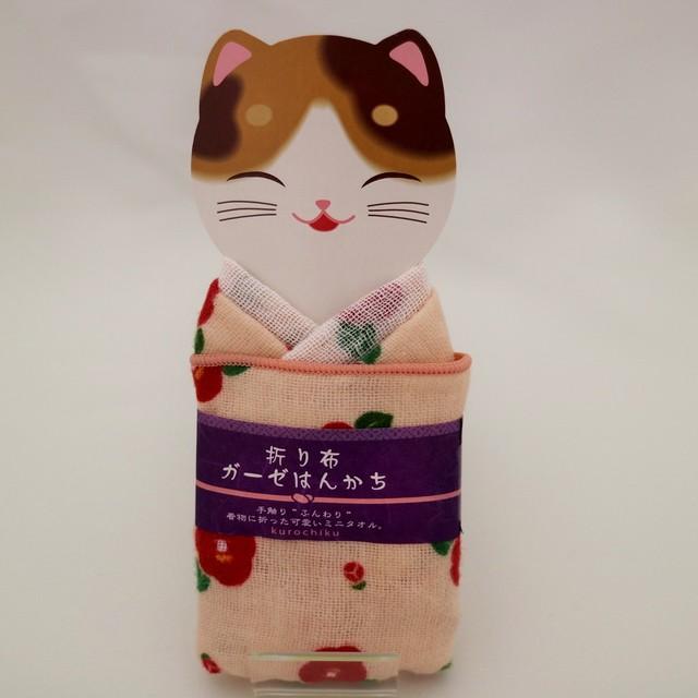 折り布ガーゼハンカチ(椿)