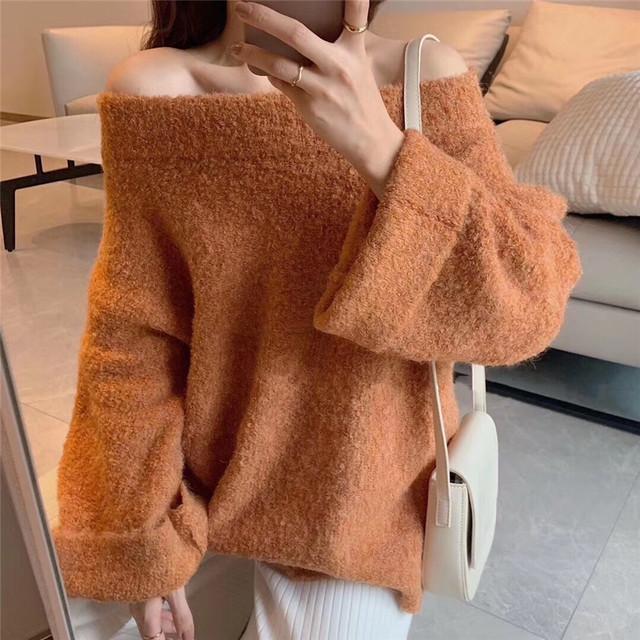 【tops】ボートネックモフモフ可愛くって暖かくってセーター25615819