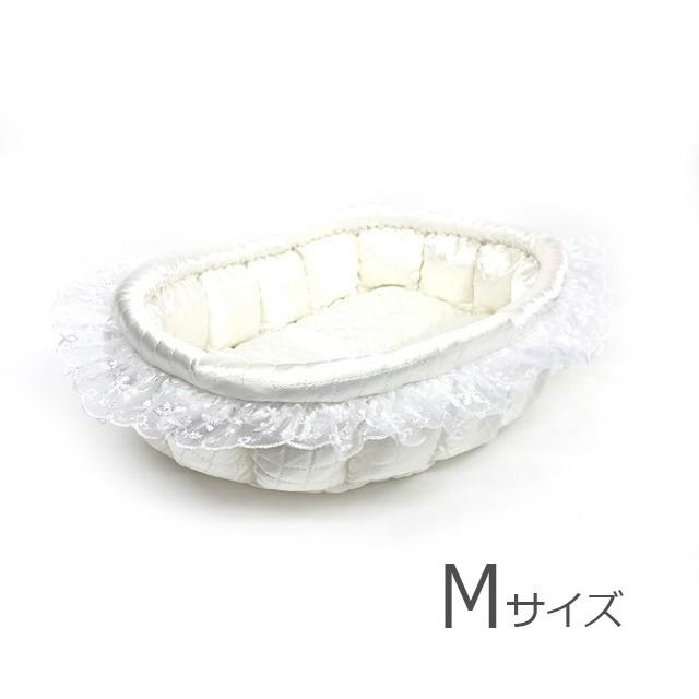 ふーじこちゃんママ手作り ドーム型ベッド(コットンデニム風ねこ柄・ボアホワイト)Mサイズ 【DB-115M】