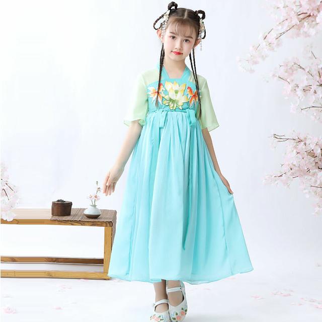 女の子 刺繍 漢服 チャイナ風ワンピース 中国風 子どもドレス シフォンワンピース 結婚式 入学式 卒業式 演奏会 ステージ 誕生日プレゼント ブルー