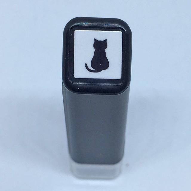 【こどものかお】スケジュールスタンプ浸透印 黒猫シルエット