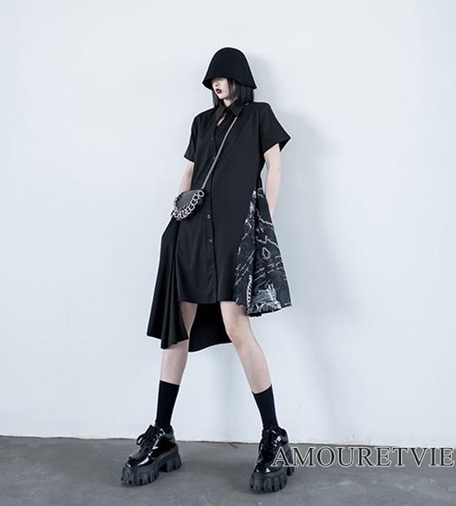 ロングシャツ シャツワンピース アシンメトリー 黒 ブラック ダーク 黒コーデ シック モダン モード系 ヴィジュアル系 1312