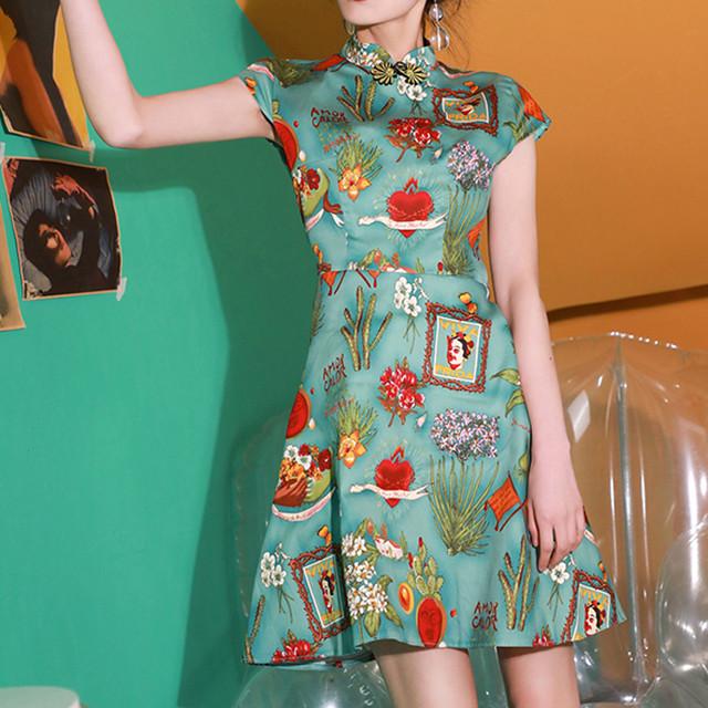 チャイナドレス ワンピース チャイナ風服 中華服 ミニ丈 可愛い 着痩せ 大きいサイズ S M L LL 3L