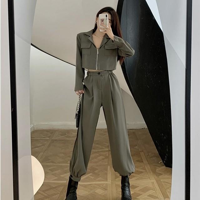 【セット】「単品注文」個性ファッションカコイイジャケット+ハイウエストカジュアルパンツ51323879