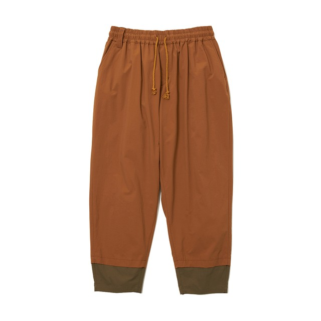 STRETCHED TAPERED SARROUEL PANTS -BROWN