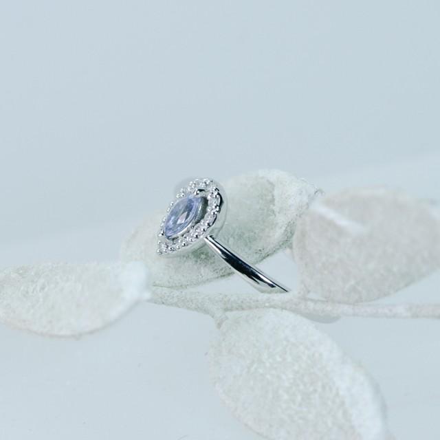 サファイヤxダイヤモンド ファッションリング K18ホワイトゴールド