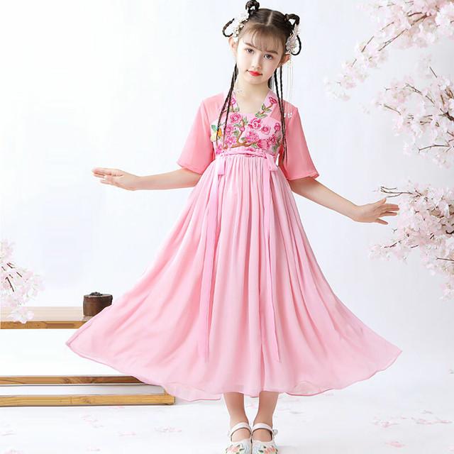 刺繍 漢服 チャイナ風ワンピース 中国風 子どもドレス シフォンワンピース 結婚式 入学式 卒業式 演奏会 ステージ 誕生日プレゼント ピンク