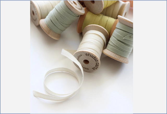 Wood Spool of 5 yards Cotton Ribbons【Studio Carta】/コットンリボン  スタジオカルタ