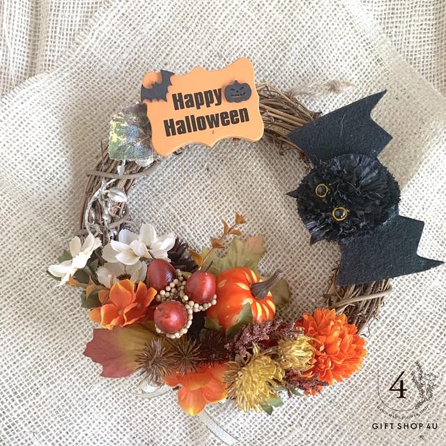 【ハロウィン】直径30cm  ハロウィンフラワーリース かぼちゃ アンティークカラーフラワーリース 13