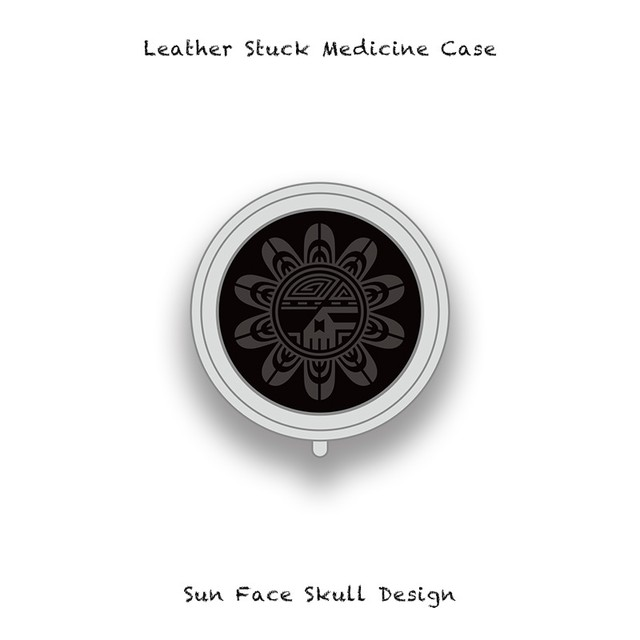 Leather Stuck Medicine Case ( Small Round Shape ) / Sun Face Skull Design 004