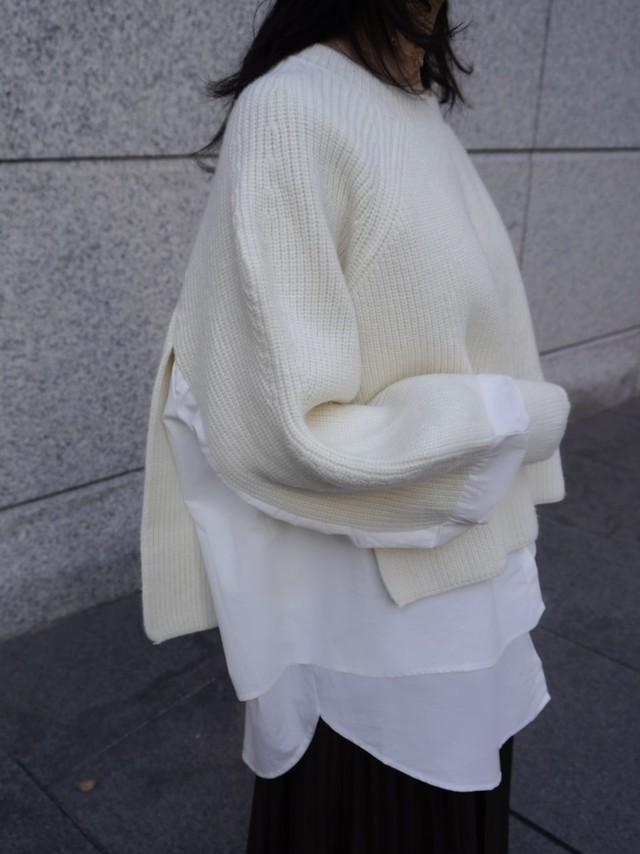 【予約】shirt docking knit / ivory (12月下旬発送予定)