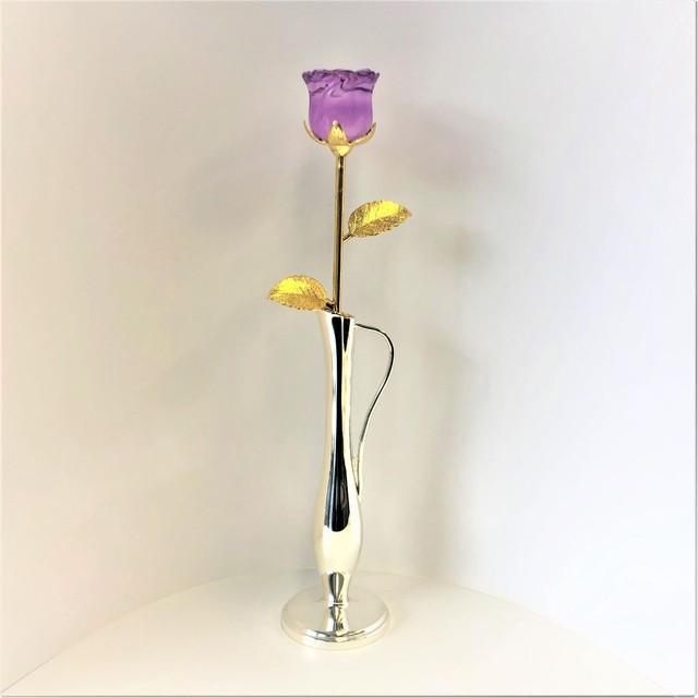 ガラスの薔薇(紫)とクイーン一輪挿し(072)