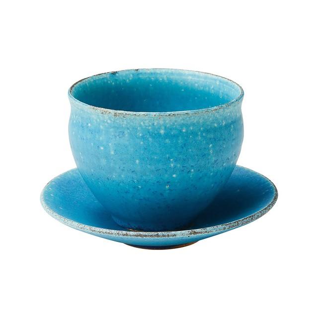 信楽焼 へちもん カップ&ソーサー 青彩釉 MR-3-3297