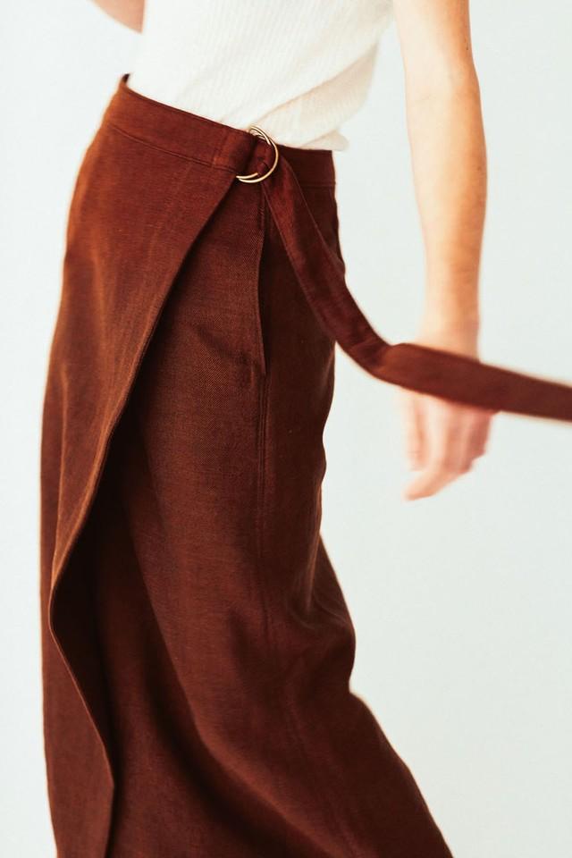 <SALE>Li/Co Herringbone Wraparound Skirt <残り1点>