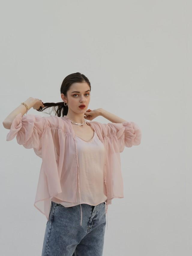triple shirring blouse set(sweet pea pink)