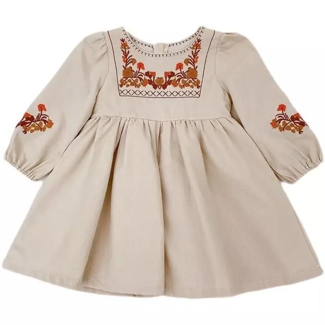 【お取り寄せ】90-130   刺繍ワンピース  女の子 赤ちゃん 子供 可愛い