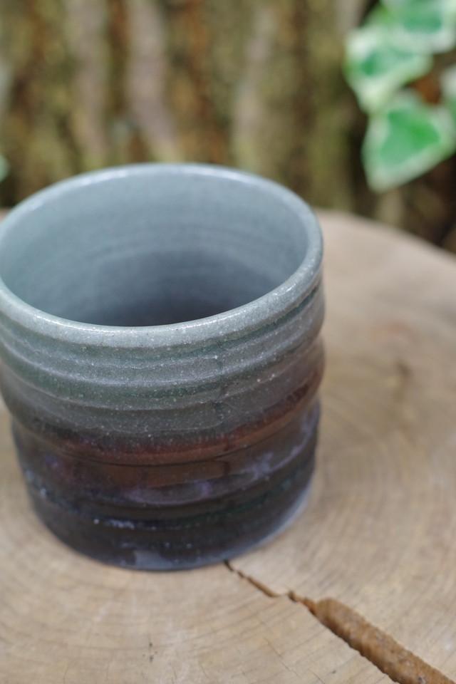 灰釉炭化植木鉢 小③【小林 哲生】