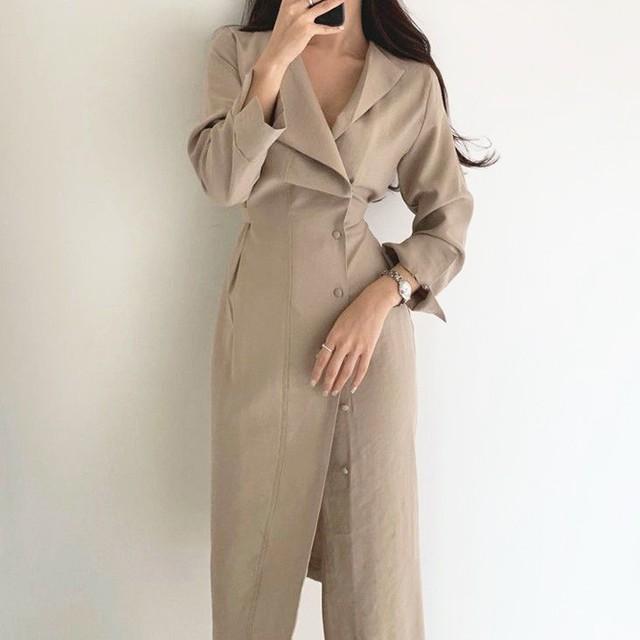 【ワンピース】ファッション長袖シングルブレストPOLOネックAラインワンピース32618120