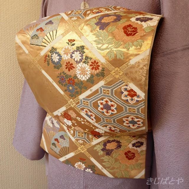 正絹 ピンクゴールドに格子の袋帯