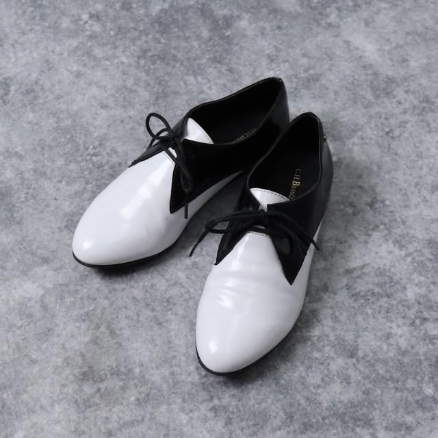 """アメリカ """"G.H.Bass&co.""""ジーエイチバス エナメル レースアップ シューズ バイカラー 2トーン レディース 7  Usa Used Enamel Shoes"""