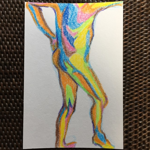 Drawing Human Bodies / Crayon / 100mm×148mm / Original Drawing