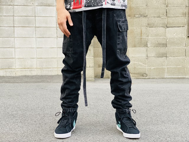 FEAR OF GOD SIXTH COLLECTION DENIM CARGO PANT BLACK SMALL 265JF6627