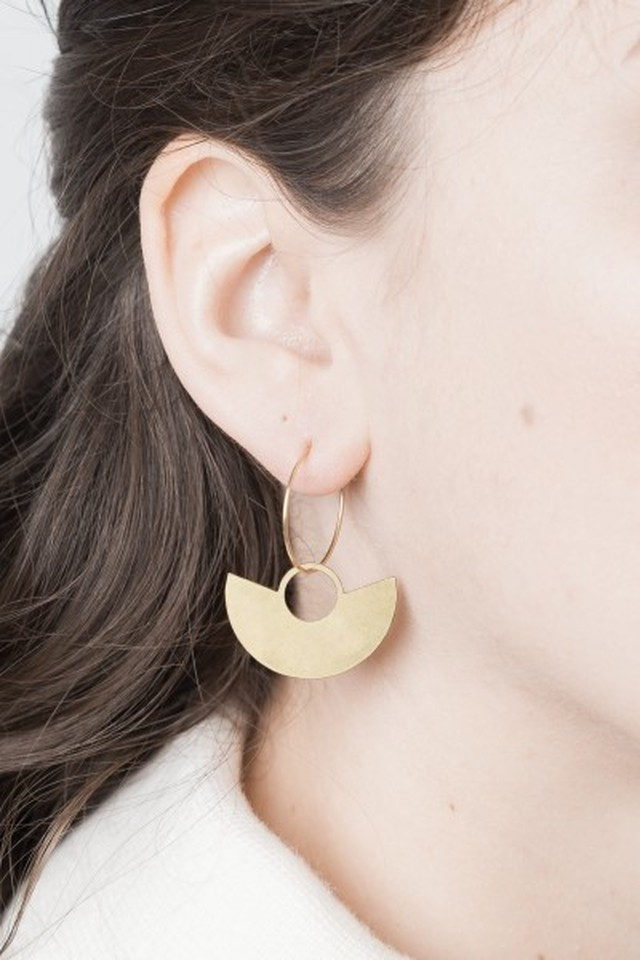◇STATE OF A◇ Earring Creole lasered Semi Circle(Item No. 10464)