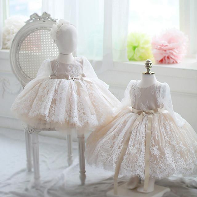 子どもドレス 子供ドレス キッズドレス 子供服装 演出装 舞台装 女の子 子供ワンピース ラウンドネック 長袖 80 90 100 110 120 130 140 150 プレゼント 誕生日 レース