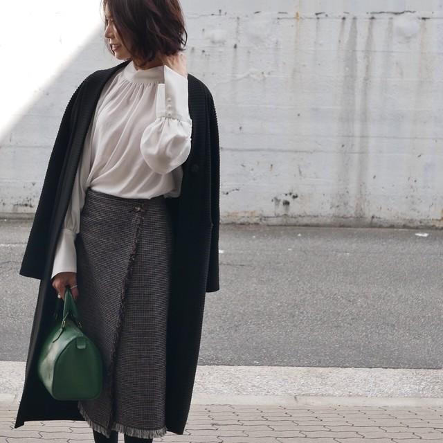 KU-UM×yuko,natsu,junko ラムウールハイウエストタイトスカート キャメル