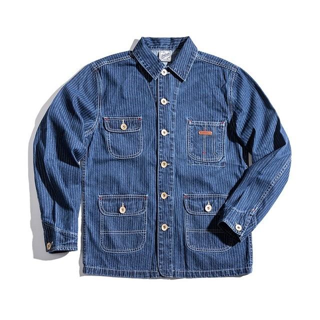 【UNISEX】ヴィンテージ デニム ストライプ シャツ ジャケット