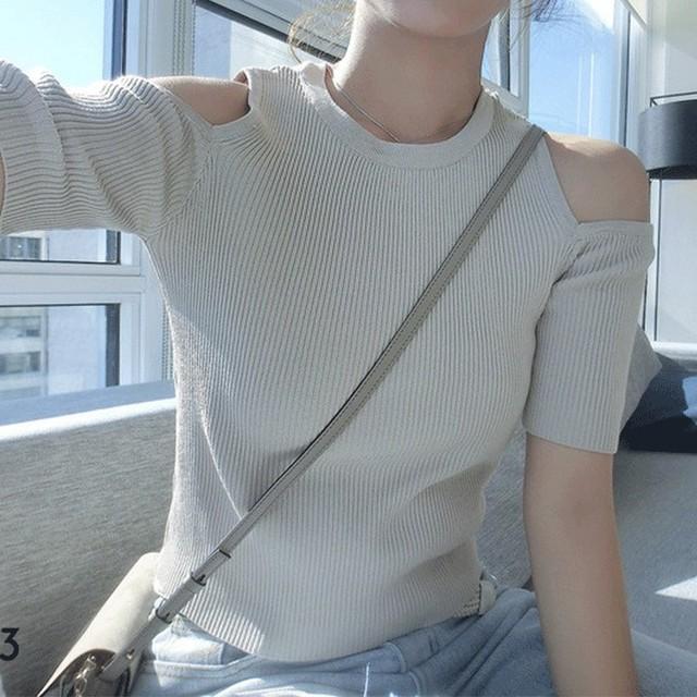 【トップス】NO.1人気 ファッション 無地 プルオーバー 透かし彫り 半袖 ニットセーター45200615