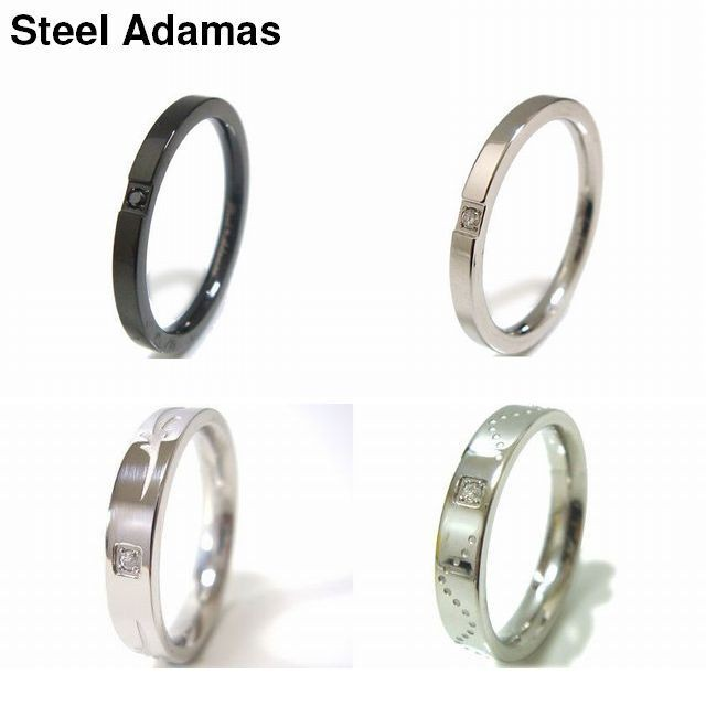 【SteelAdamas】送料無料★アダマスステンレスダイヤモンドリング (grd802b・grd802s・Z-gjrsd806・Z-gjrsd807)