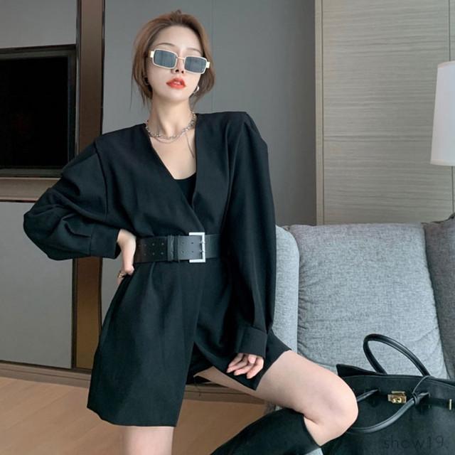 【アウター】韓国系気質よい無地ベルト付き 合わせやすい長袖 新作着まわし力抜群 スーツジャケット40783778